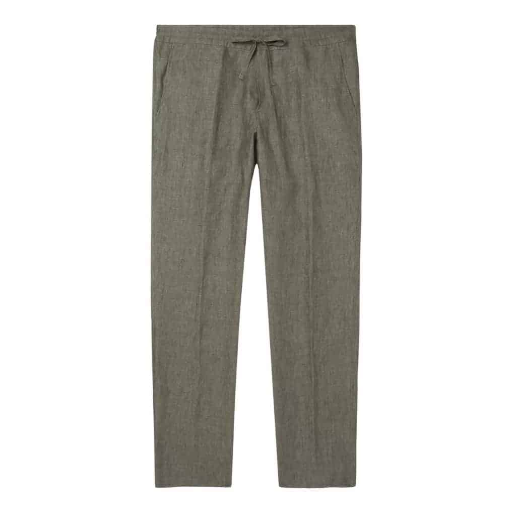 Army green drawstring linen pants.
