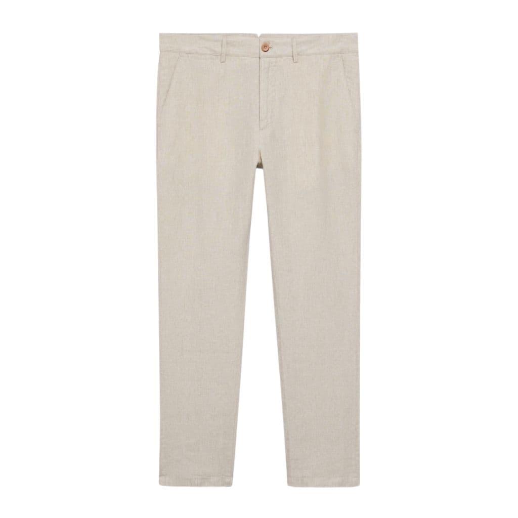 Beige linen pants.
