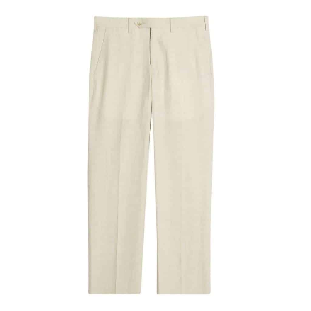 Light beige linen pants.