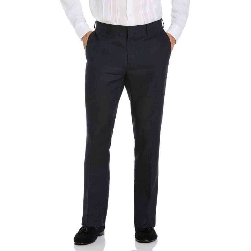Lower half of a person wearing black linen pants.