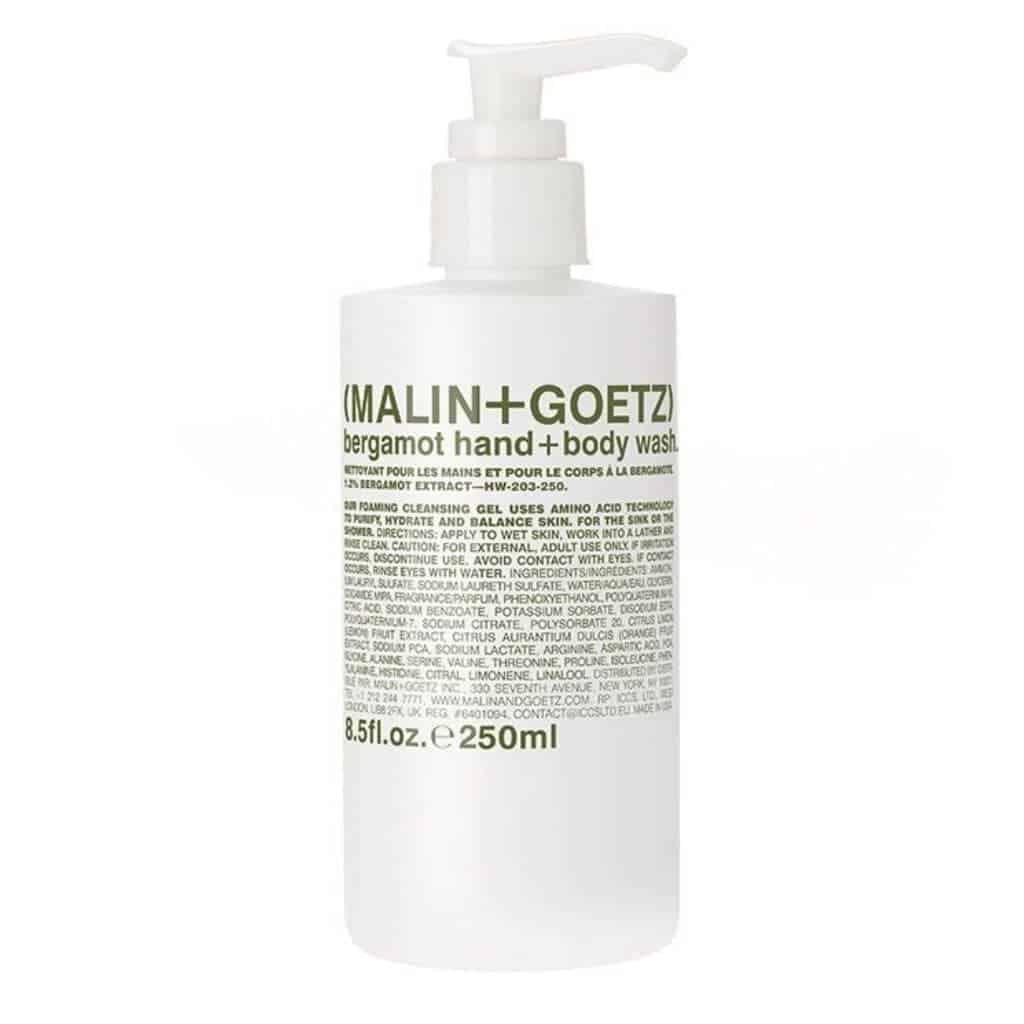 Bottle of Malin and Goetz body wash.