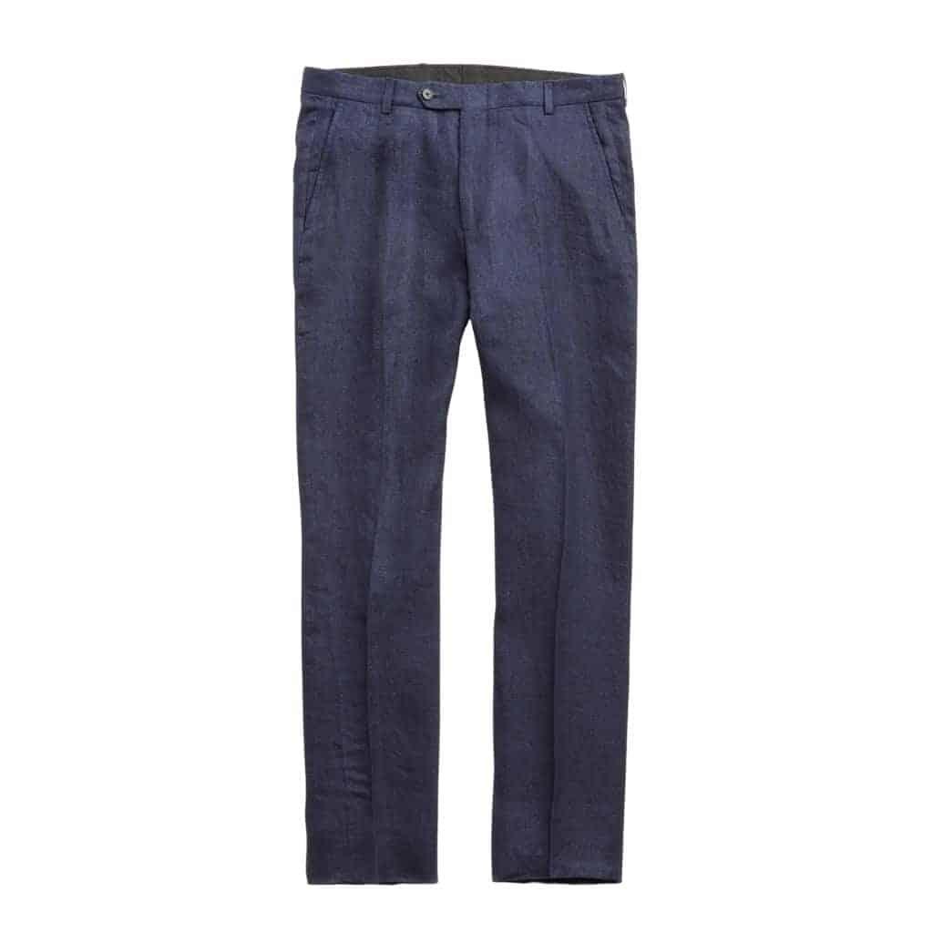Navy blue linen pants.