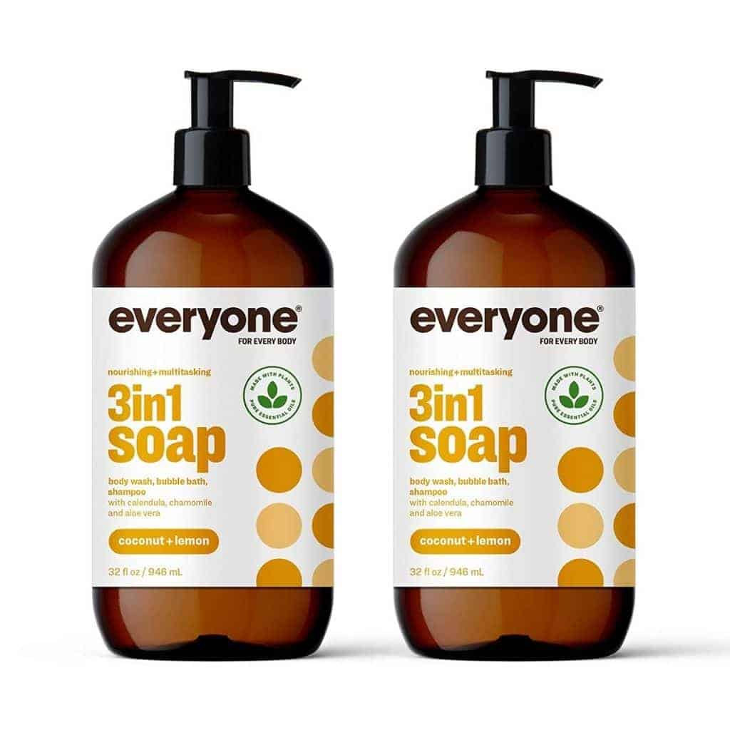 Two bottles of Everyone body wash.