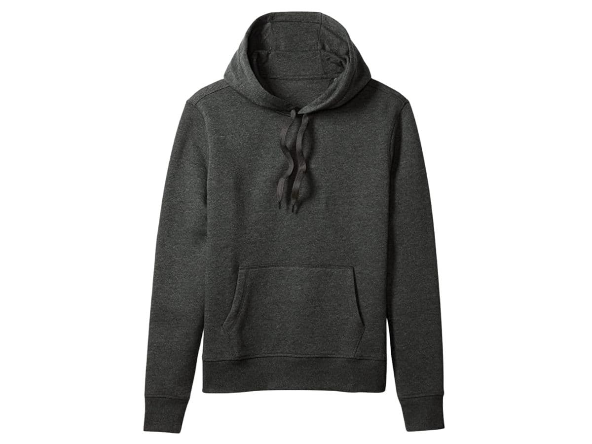 Dark grey Amazon Essentials hoodie.