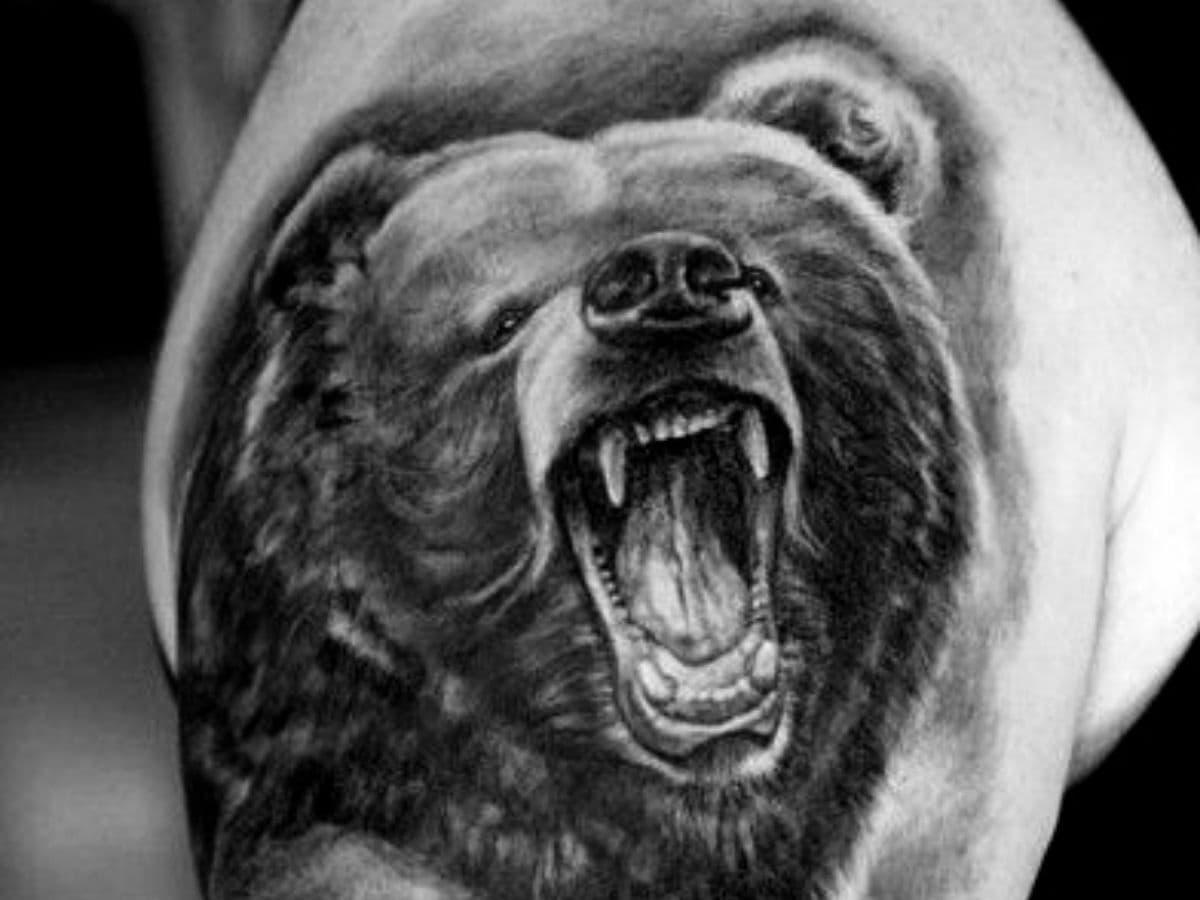 Bear shoulder tattoo.