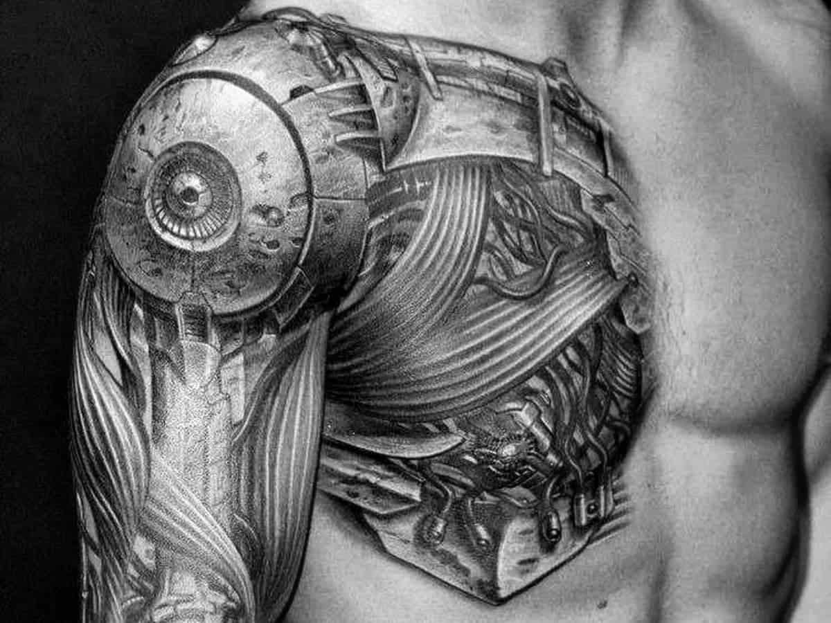 Biomechanical shoulder tattoo.