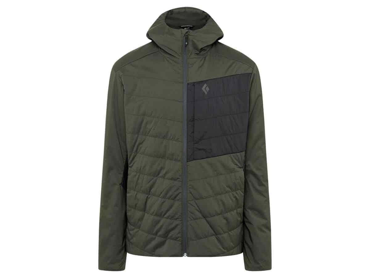 Black Diamond hooded puffer jacket zipped up.