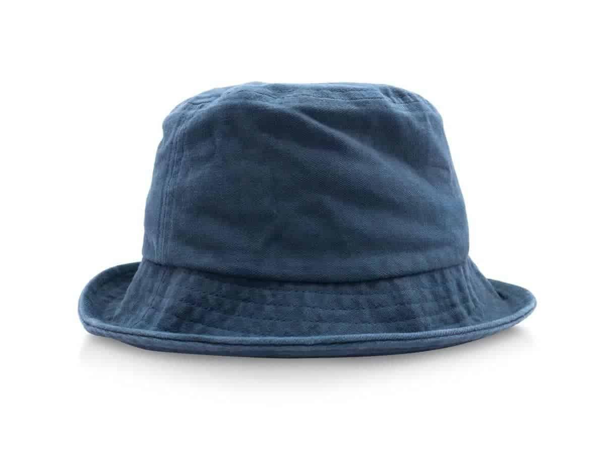 Blue bucket hat.