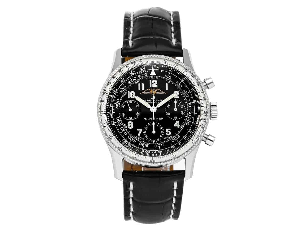 Breitling Vintage Navitimer watch with a black leather strap.