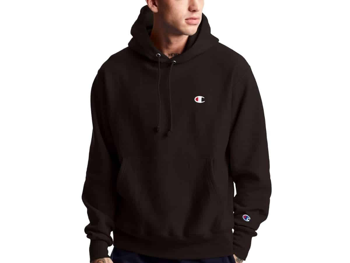 Person wearing a Champion hoodie.