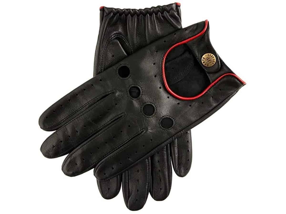 Dents black leather driving gloves.