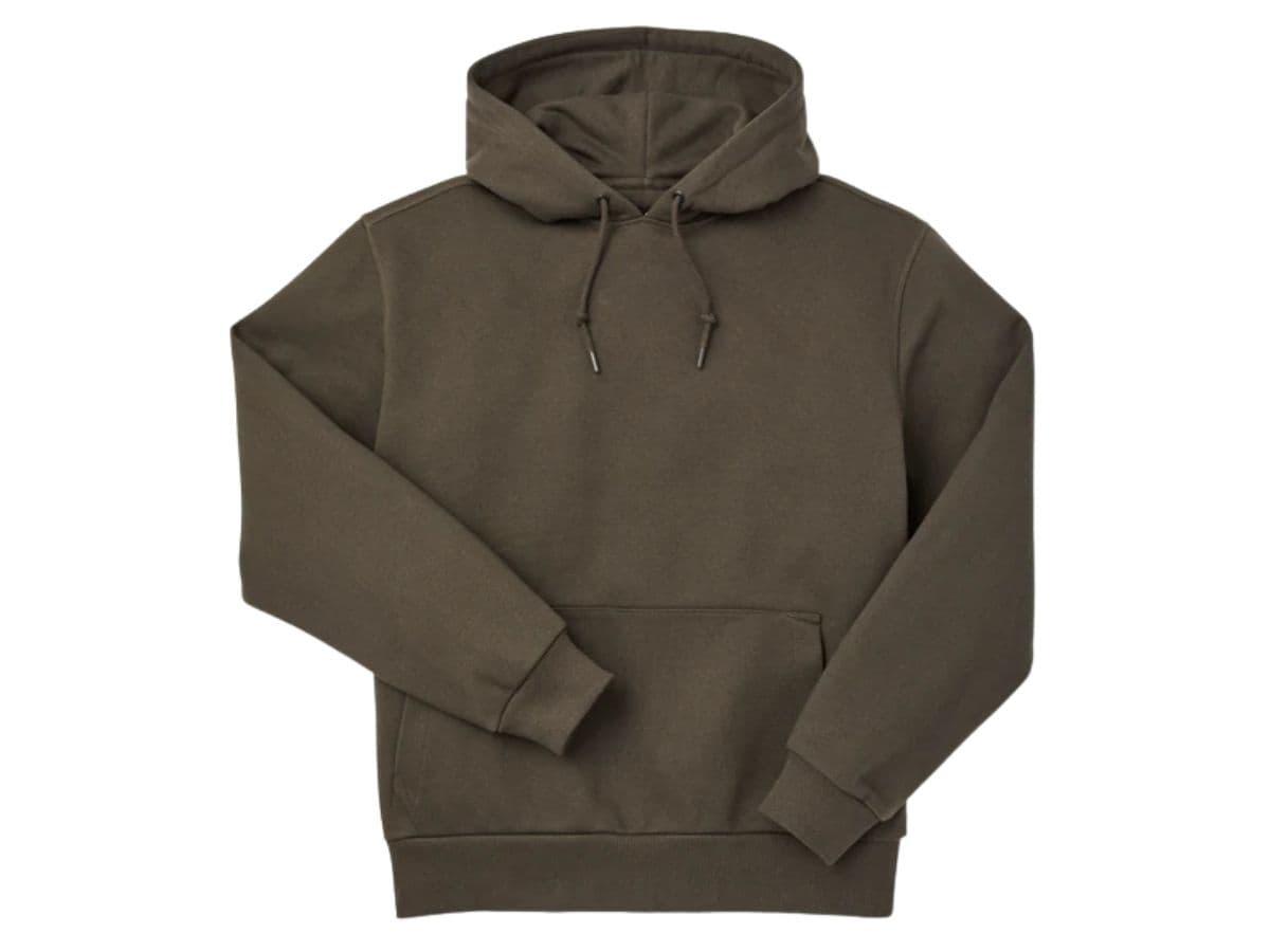 Brown Filson hoodie.