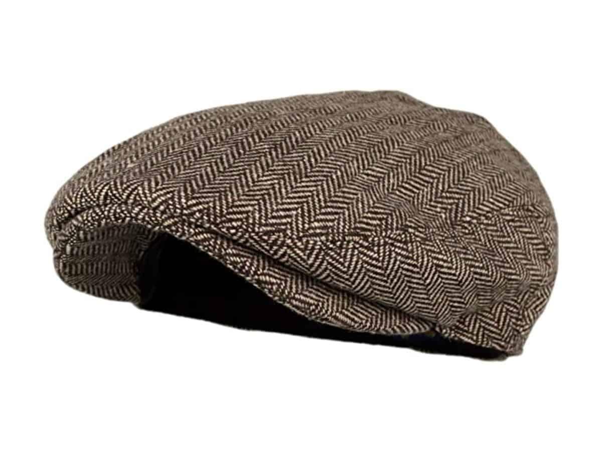 Herringbone flat cap.