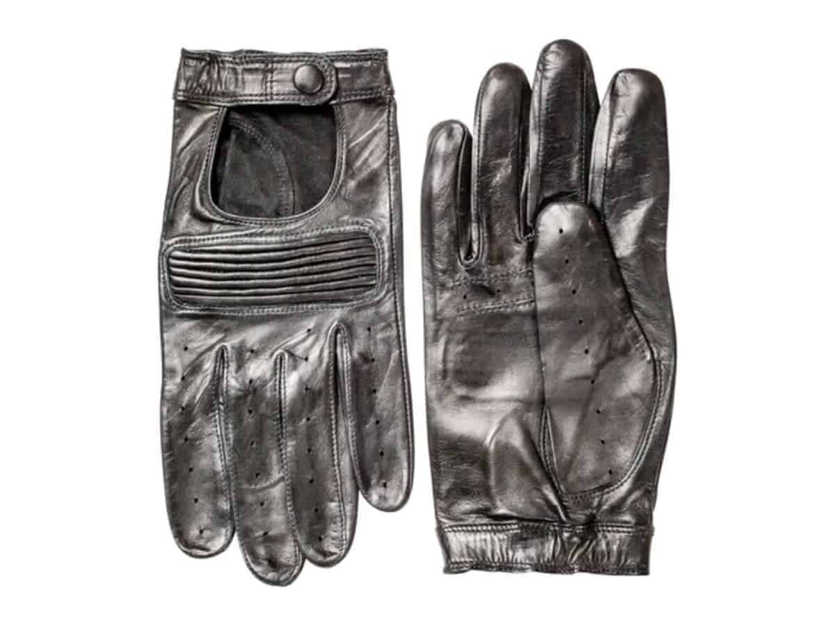 Pair of Hestra black leather driving gloves.