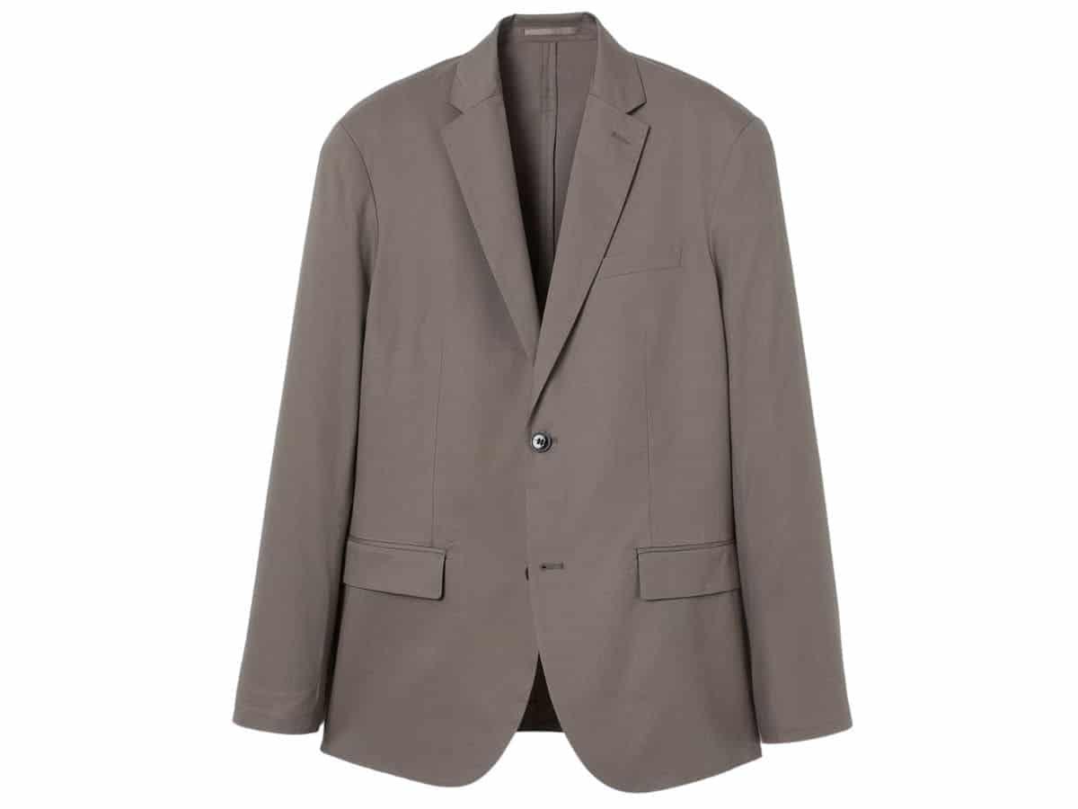 Taupe unstructured blazer.