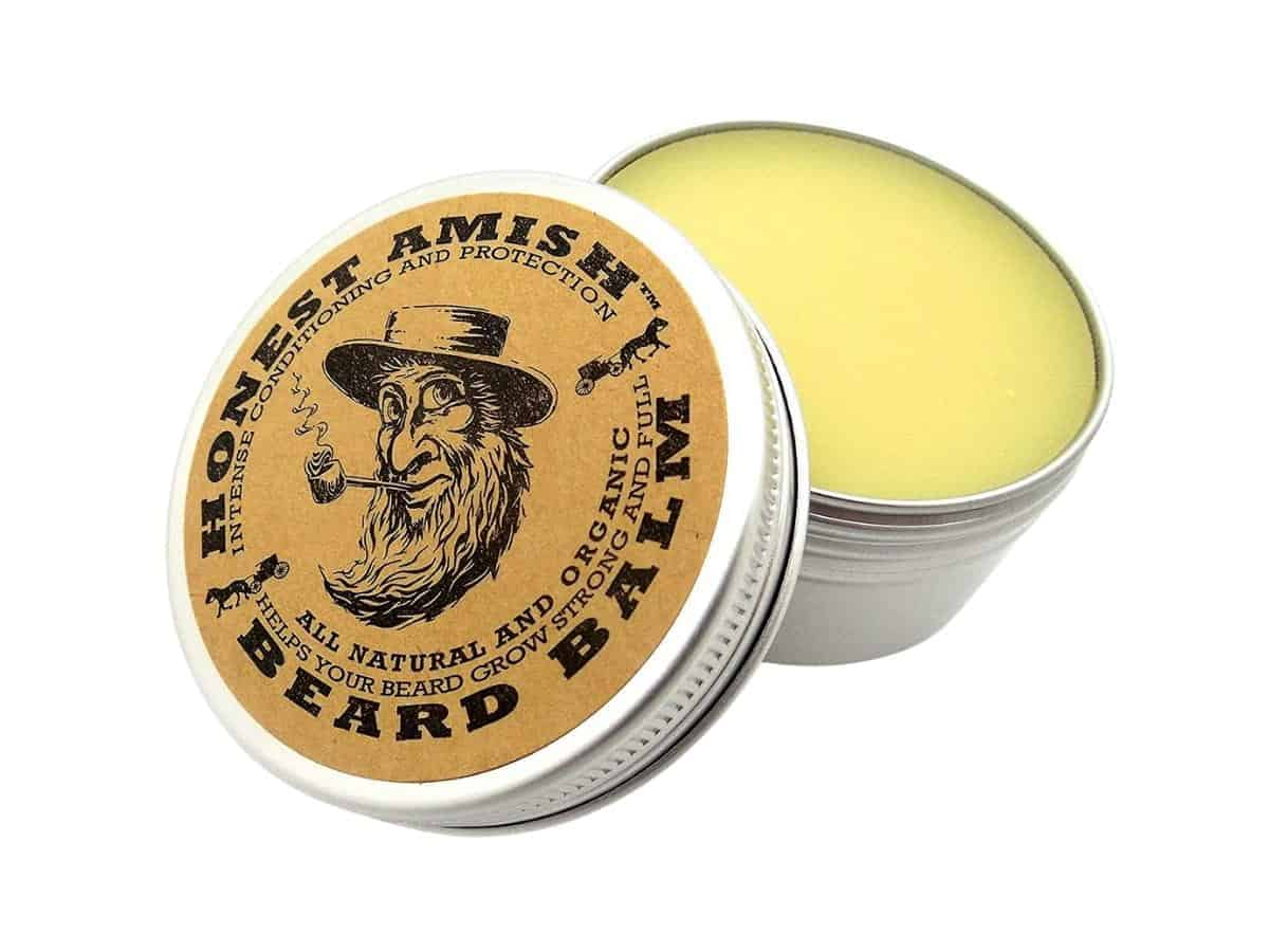 Container of Honest Amish beard balm.