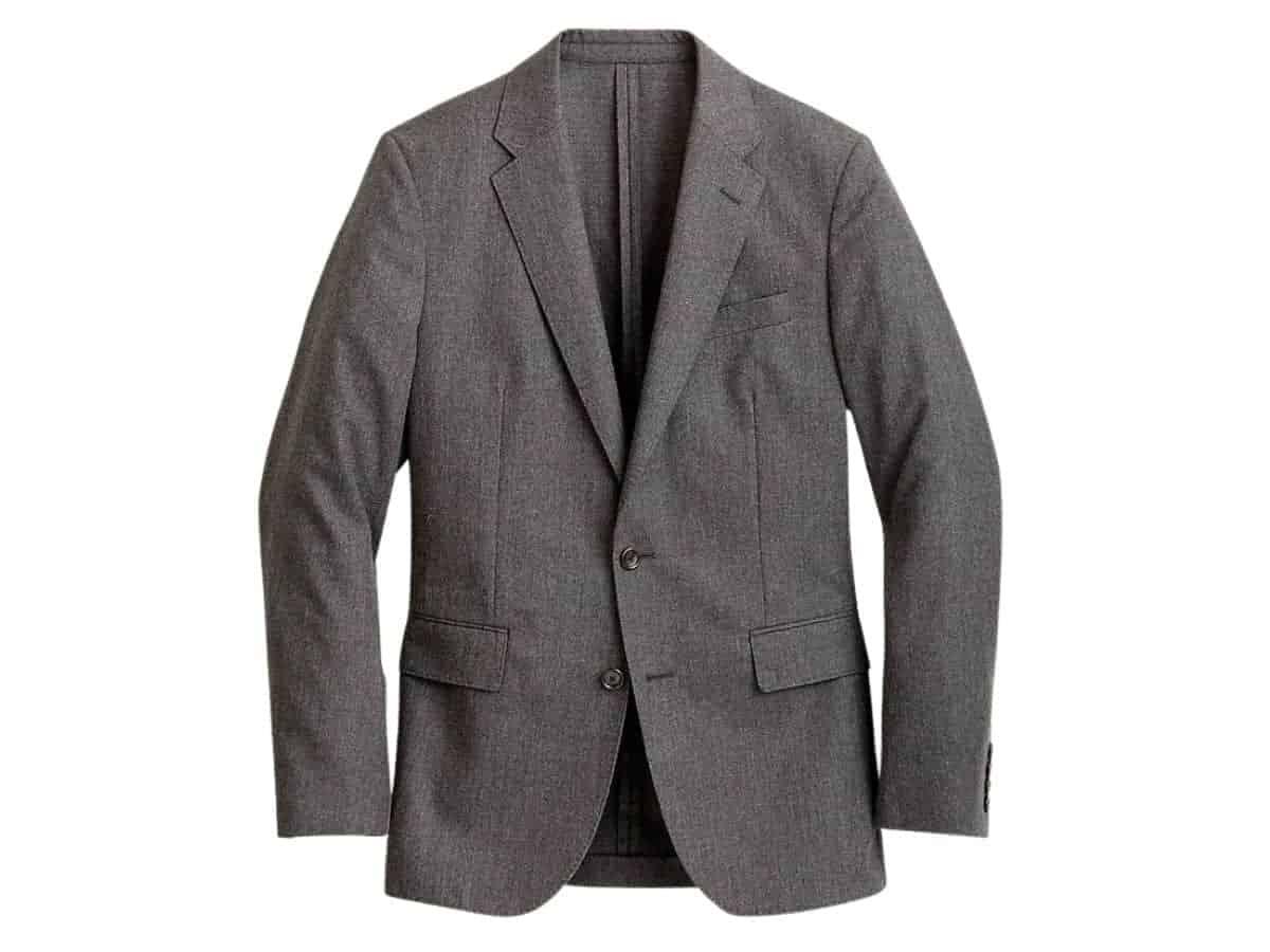 Grey unstructured blazer.