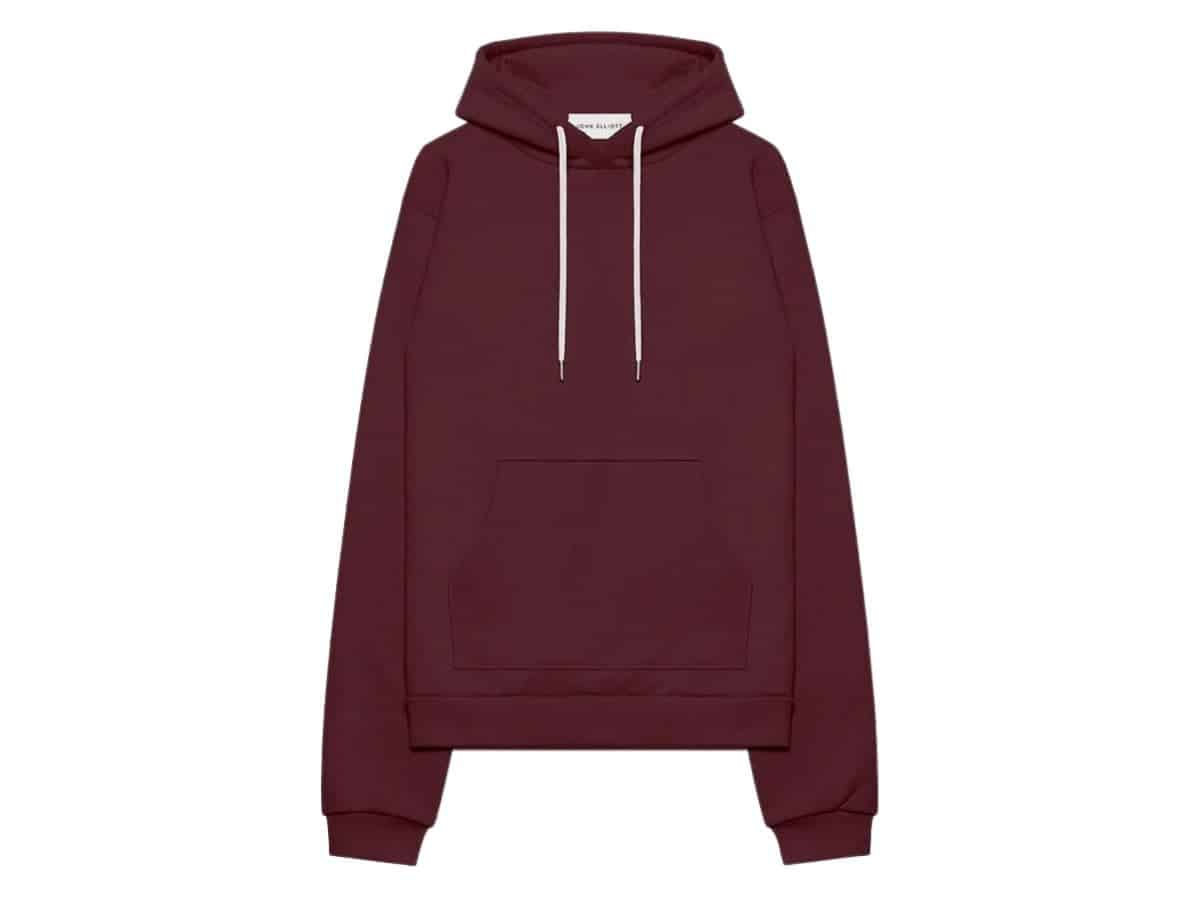 John Elliott burgundy hoodie.