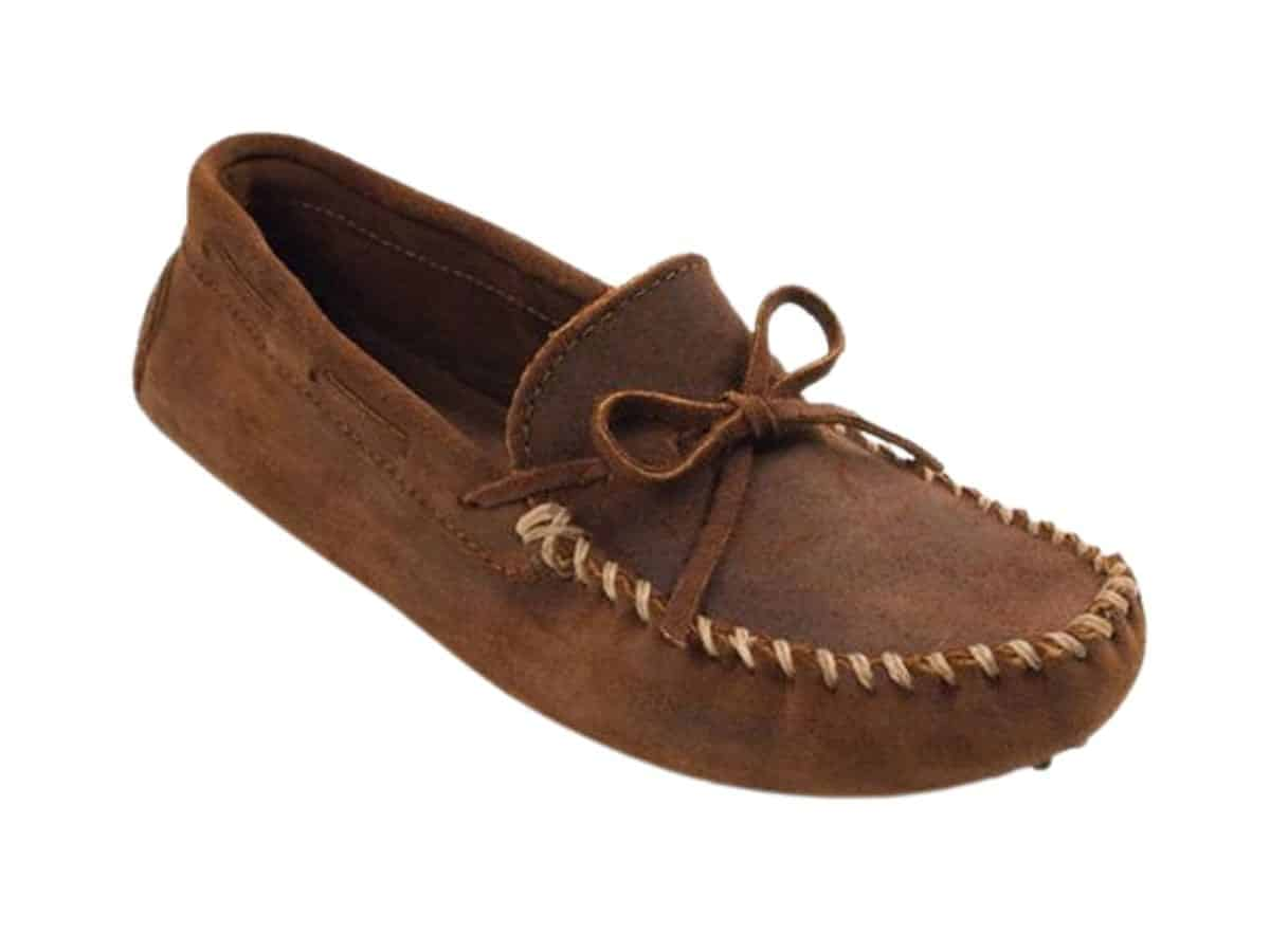 Minnetonka suede driving moccasin.