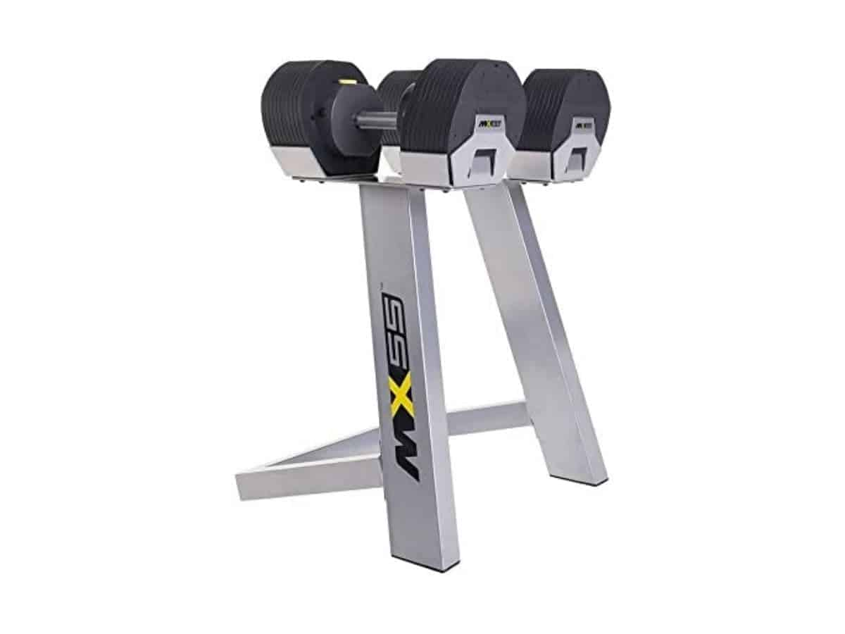 MX Select adjustable dumbbells and stand.
