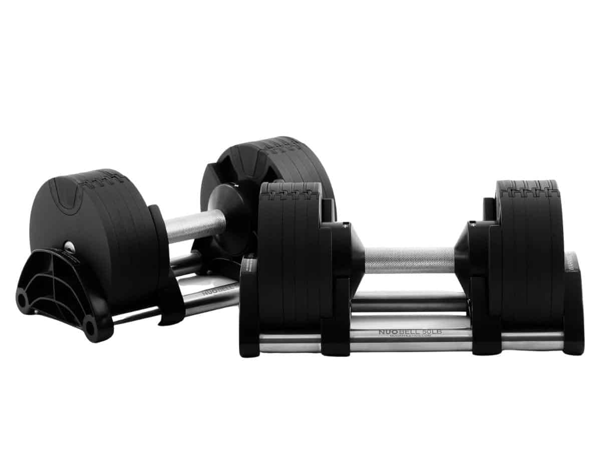 Two NÜOBELL adjustable dumbbells.