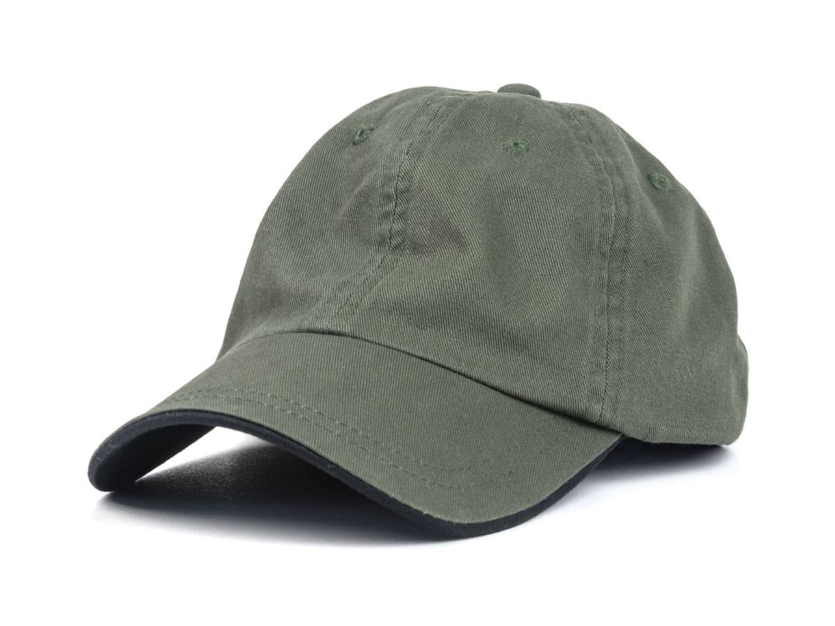 Olive baseball cap.