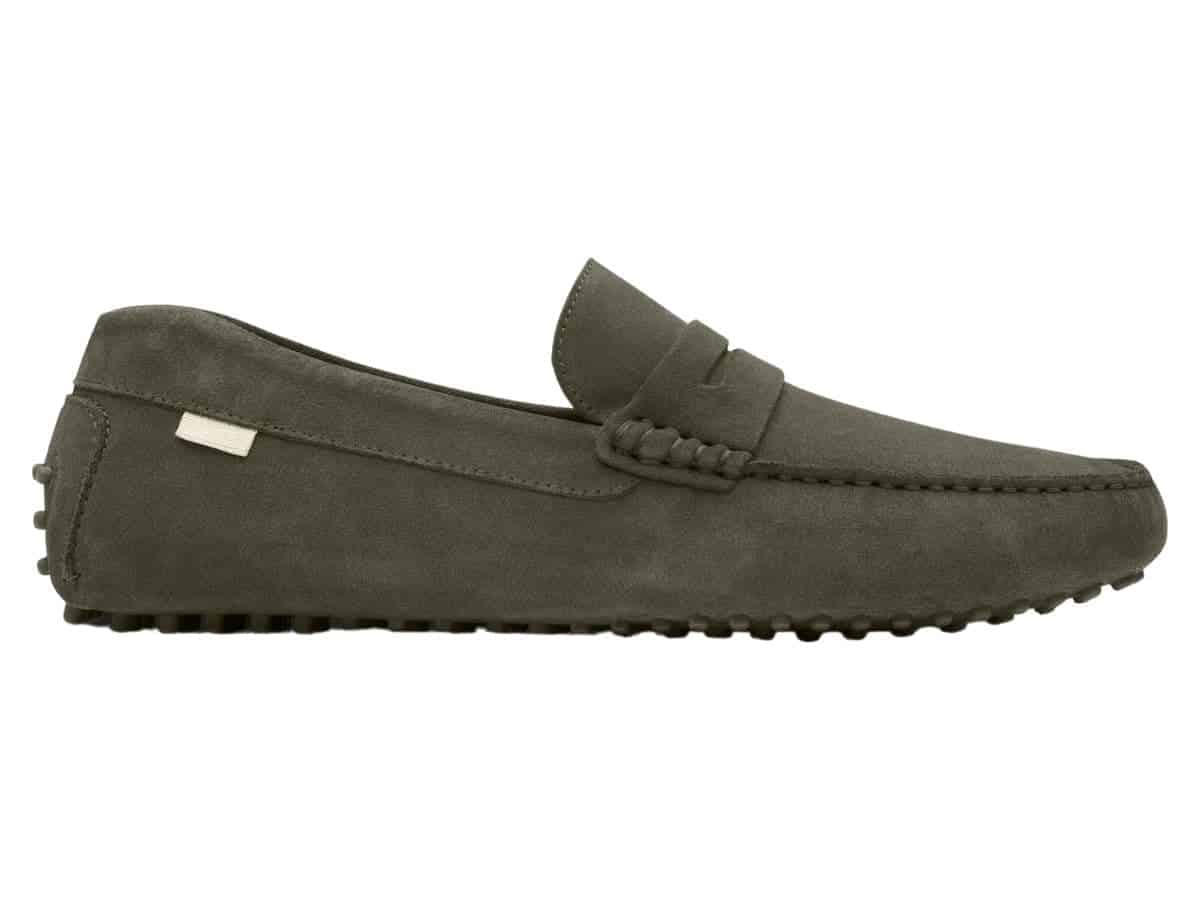 Side olive suede driving shoe.