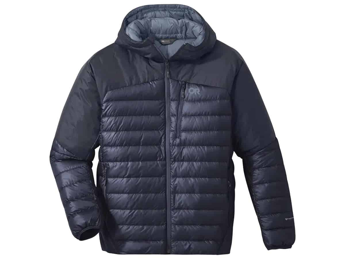 Outdoor Research hooded puffer jacket.