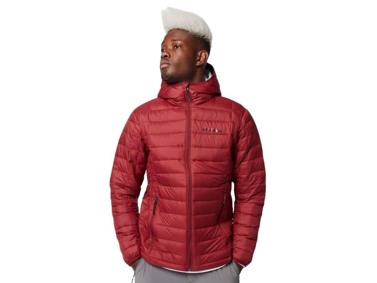 Person wearing a zipped Columbia puffer jacket.