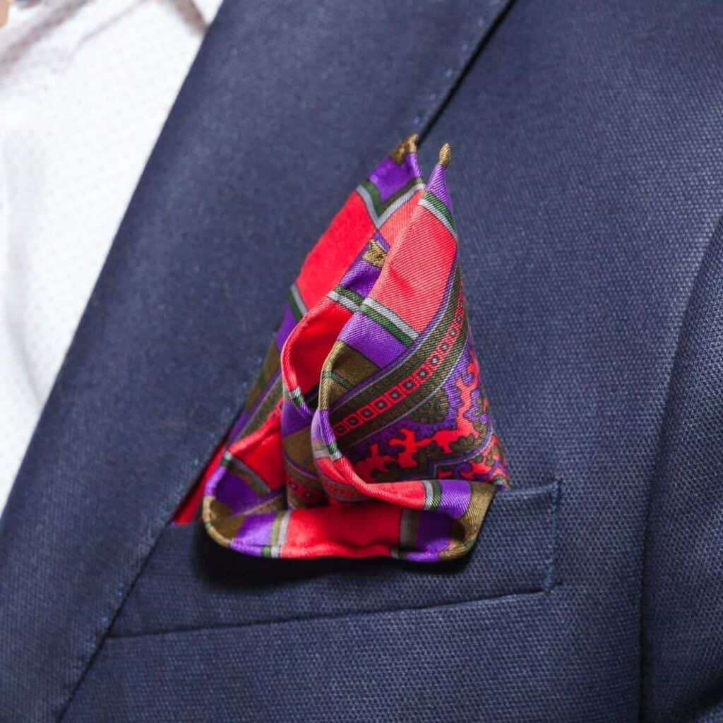 Pocket square in a suit jacket.