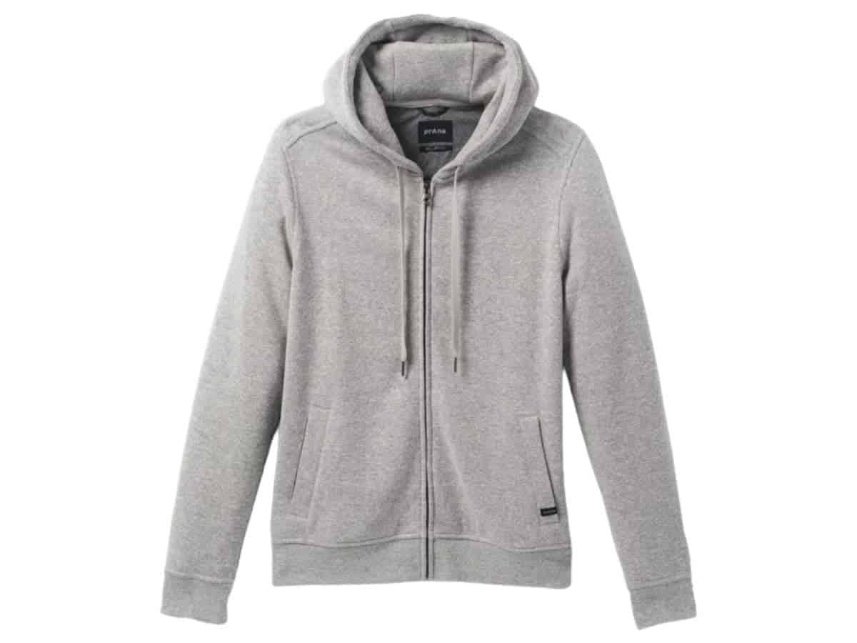 prAna grey full-zip hoodie.