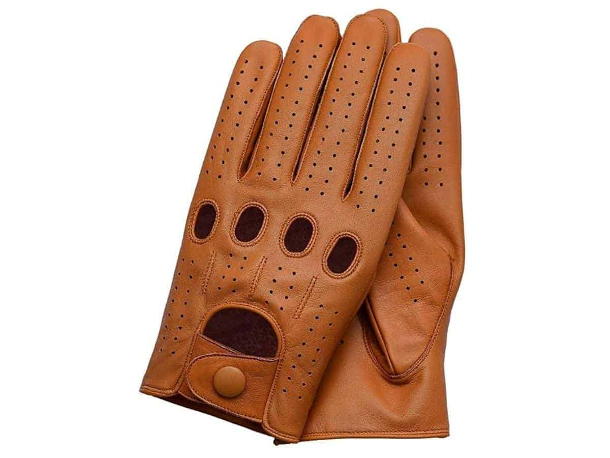 Pair of brown leather driving gloves.