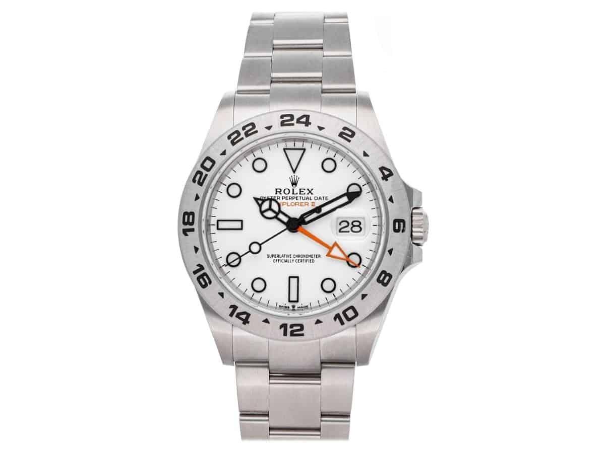 Rolex Explorer II silver metal watch.