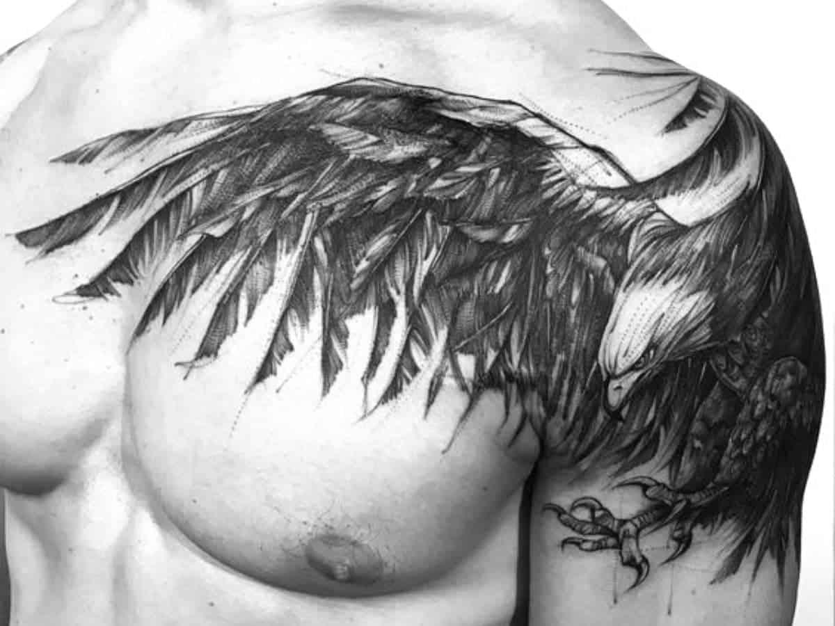 Eagle shoulder tattoo.