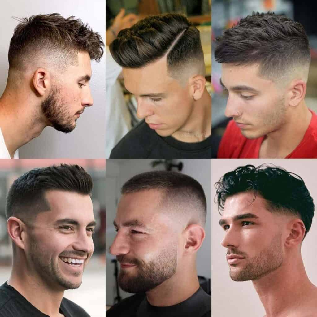 Six examples of fade haircuts.