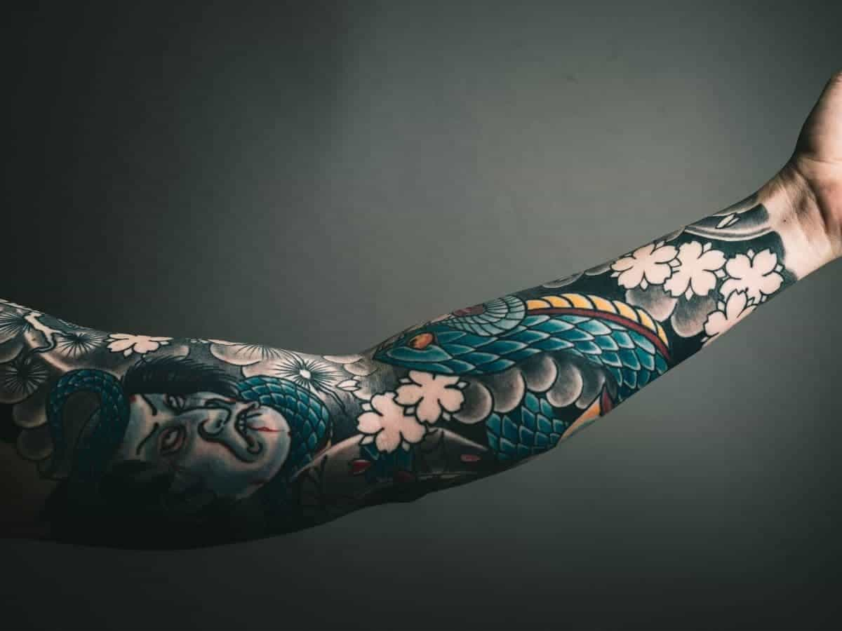 Sleeve tattoo on a person's arm.