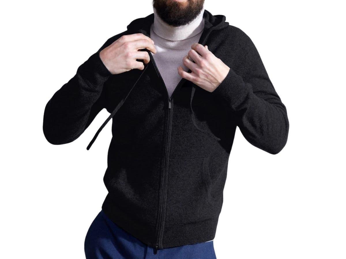 State Cashmere full-zip hoodie.