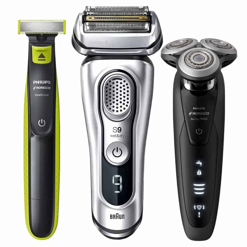 Three electric shavers.