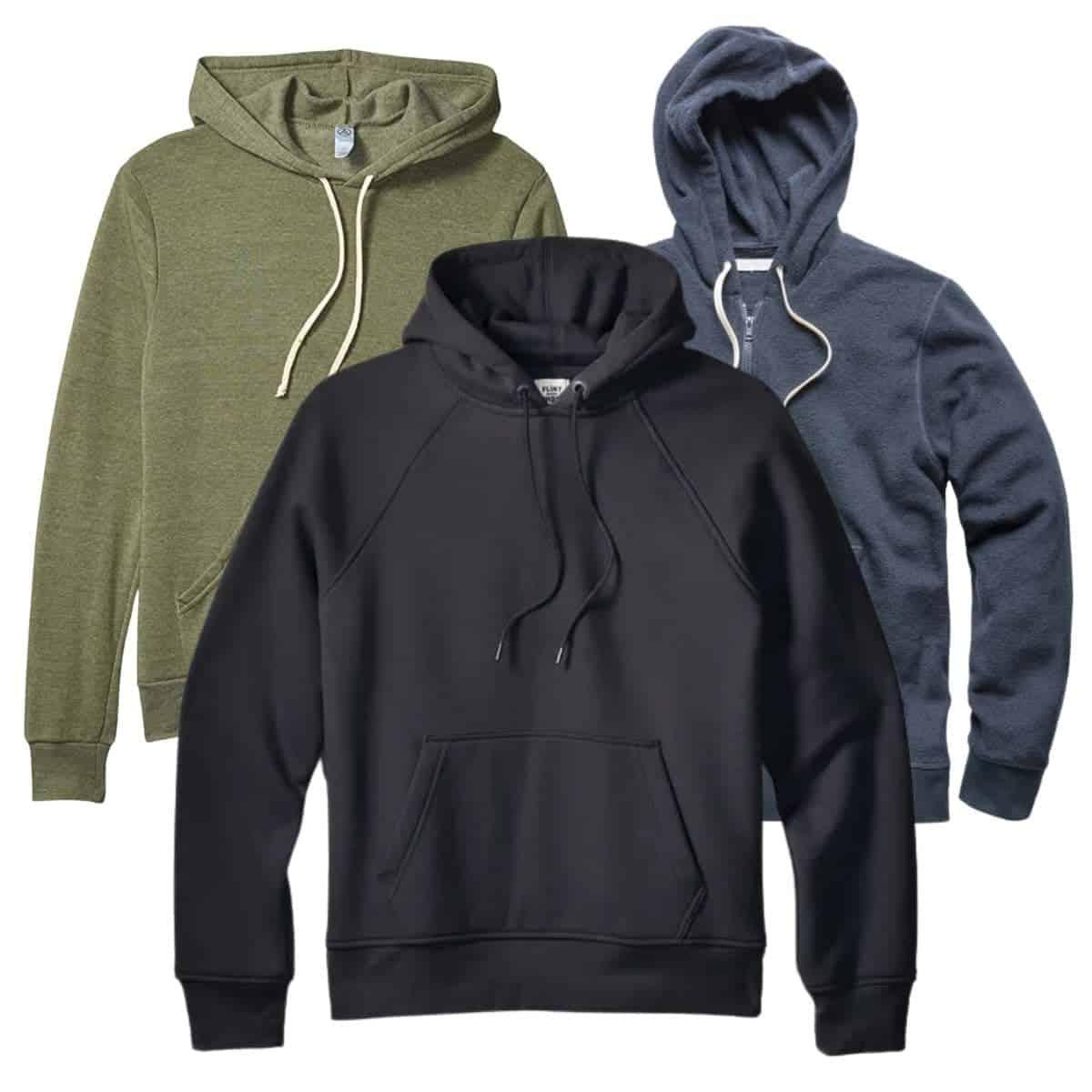 Three hoodies.