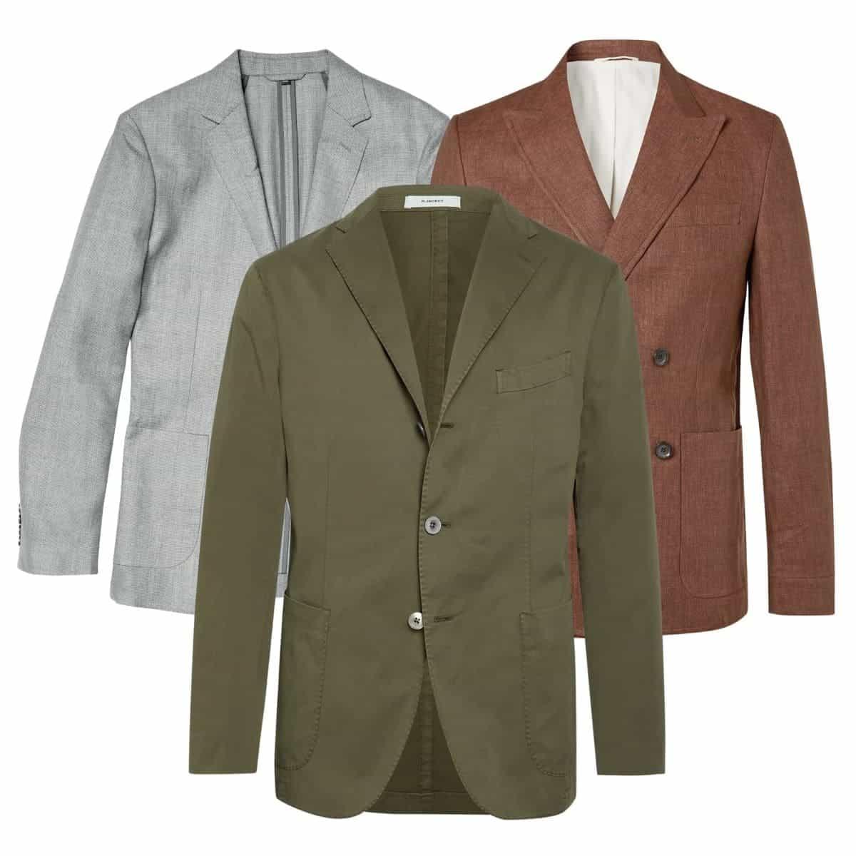 Three unstructured blazers.