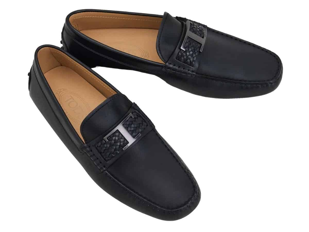 Pair of Tod's black leather driving shoes.