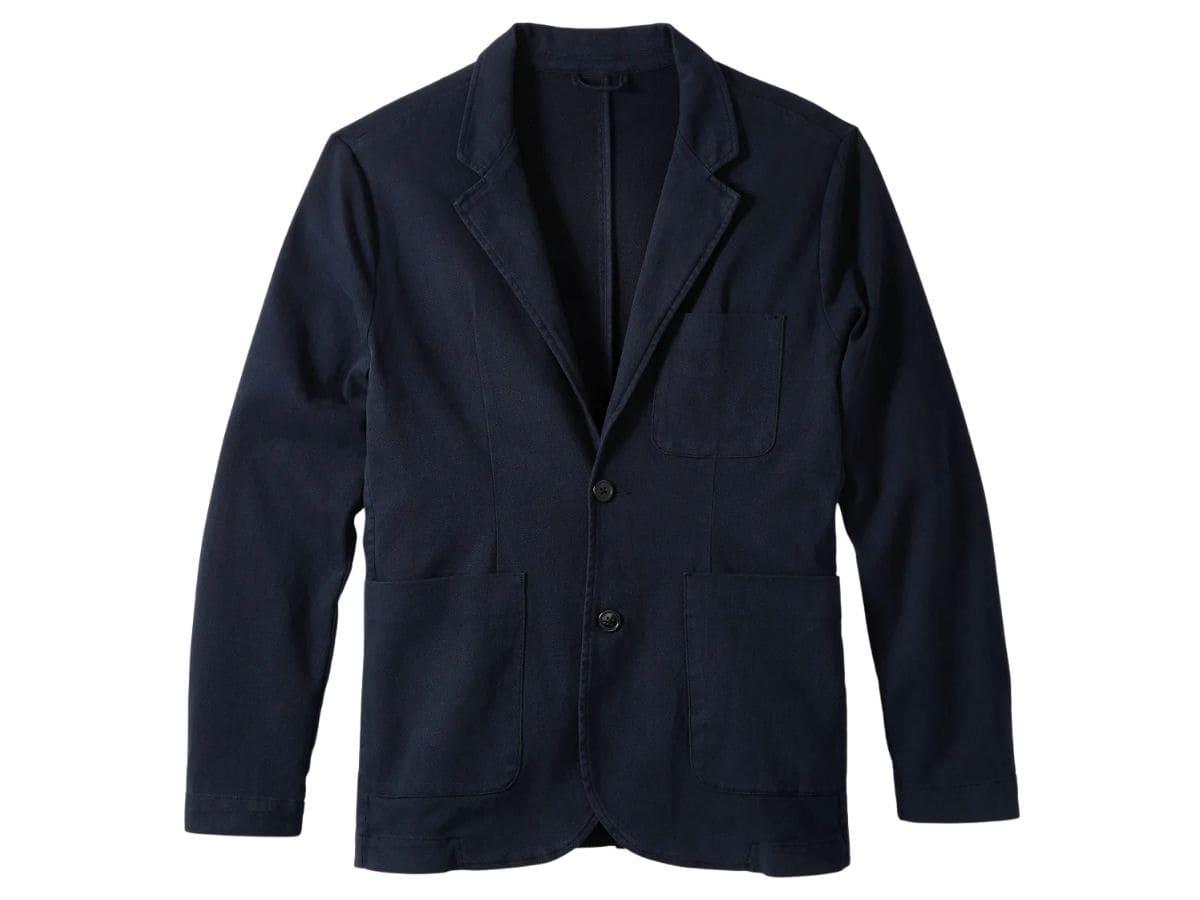 Navy unstructured blazer.