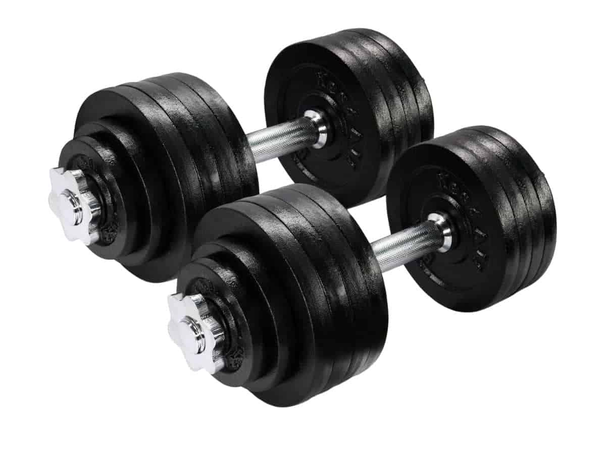 Two cast-iron adjustable dumbbells.
